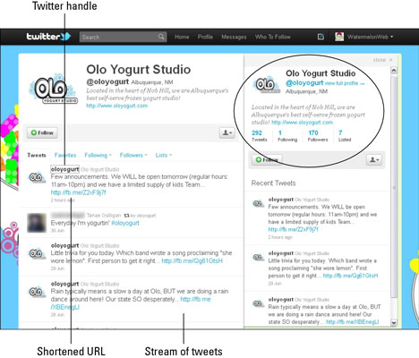 Olo Yogurt's twitter feed displays a typical stream of tweets. [Credit: Used with permission