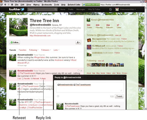 The tweet stream for Three Tree Inn includes a reply and a retweet. [Credit: Courtesy of Three Tree