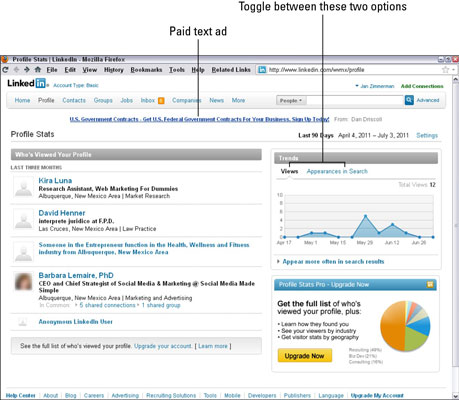 A LinkedIn results page from Profile Stats. [Credit: Courtesy of Watermelon Mountain Web Marketing,