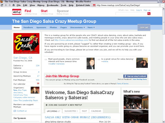 A Meetup search for salsa dance groups near San Diego produces several results, including this one.