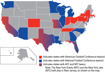 The National Football League Conferences - dummies on map of nfl teams in usa, map of all disney, map of favorite nfl teams, map of all mls teams, us map nfl teams, central hockey league teams, us map of baseball teams, map nfl teams by fans, map of all cfl teams, map of nfl stadiums, map of all colleges, map of all mlb, map of all saints, map of all football players, map with nfl team division, map of the nfl, map of all animals, map of nfl teams poster, map of all new england, map of nfl cities,