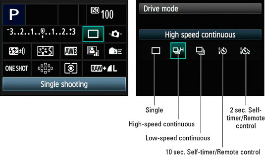 How to Change the Drive Mode on the Canon EOS 60D - dummies