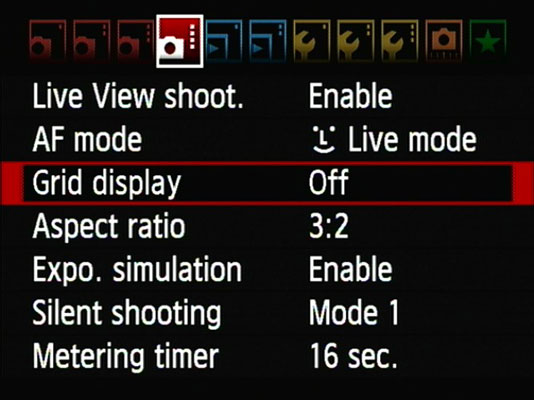 Custom Live View Settings on a Canon EOS 60D - dummies
