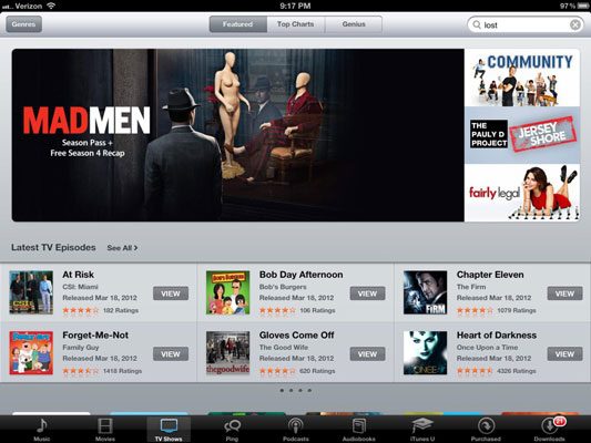 Buying and watching TV shows on the iPad.