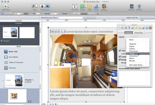 An image with a caption and title applied (center) and the Widget inspector's Layout pane (ri