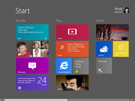 The Start screen's live tiles constantly update to show the latest information.