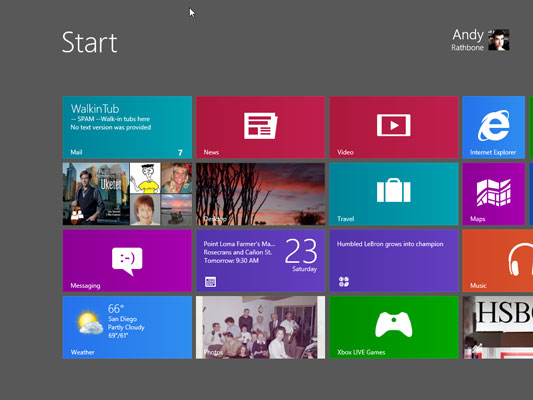 Windows 8's new touchable Start screen lets you access information while on the go.