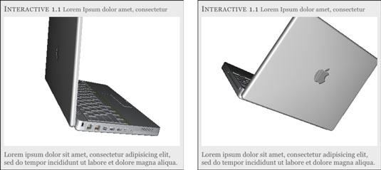 Two views of a rotated 3D object as displayed on an iPad.