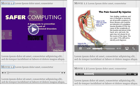 A video object and an audio object in iBooks Author (left), and the same objects in an e-book on th