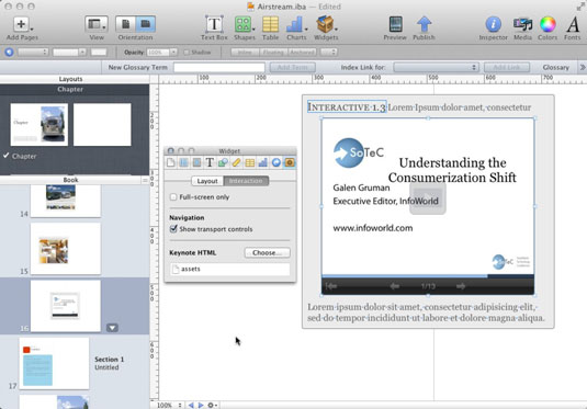 A Keynote object in iBooks Author (right) and the Interaction pane (center).