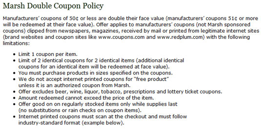 A grocery store's coupon policy.