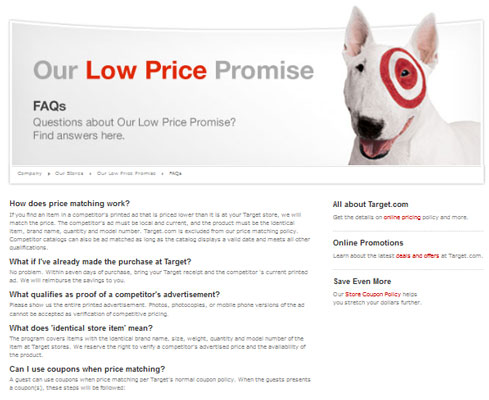 Target's online price-matching policy.