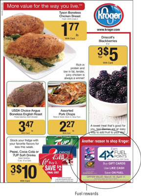 A page of promotions with a special section of Kroger Fuel Rewards.