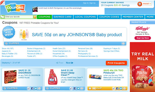 Home page for coupons.com