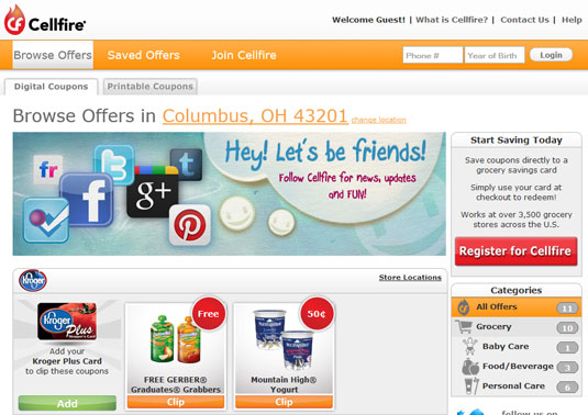 Cellfire, an online coupon site.