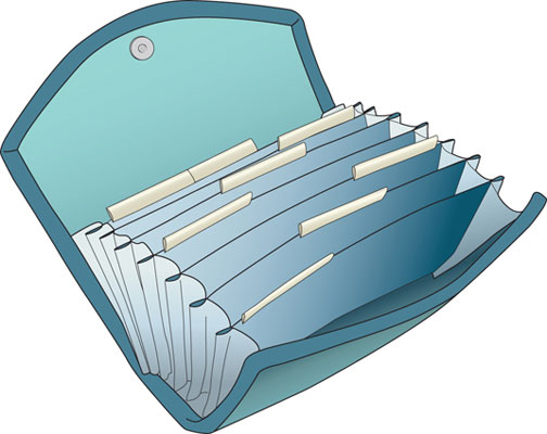Drawing of an expanding filing folder.