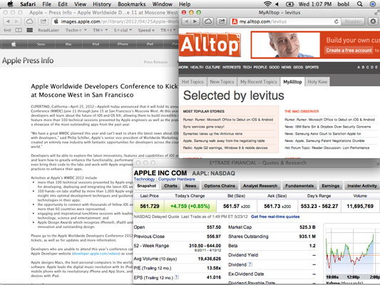 Web-surfing space, with three Safari windows (Apple Press Info, Alltop page, and eTrade) arranged j