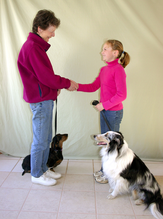 A woman with a daschund greets a girl with a rough collie.
