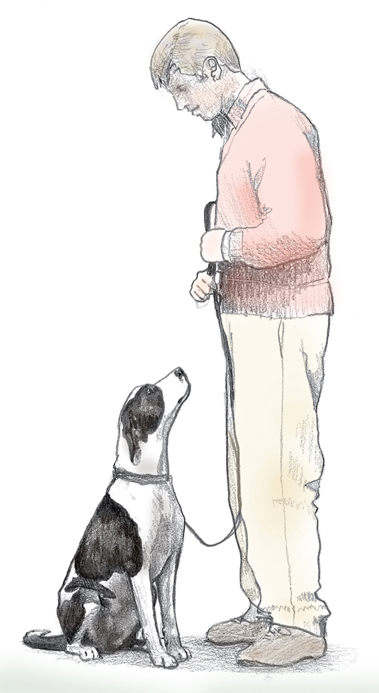 Man holds his dog's leash with both hands.