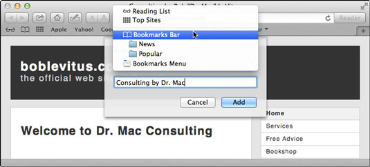 how to save bookmark on mac