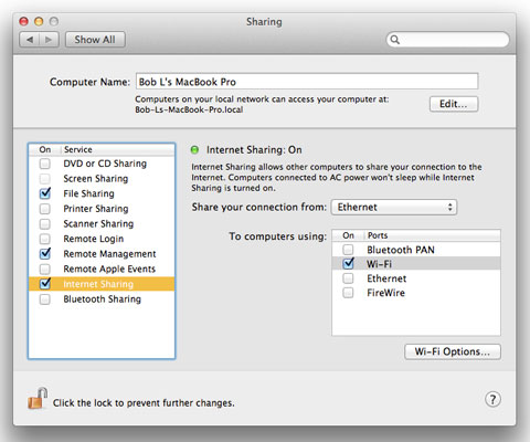 internet sharing mac not working mountain lion