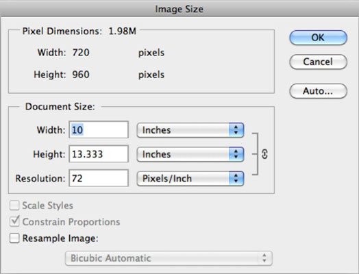 how to change size of image to photoshop