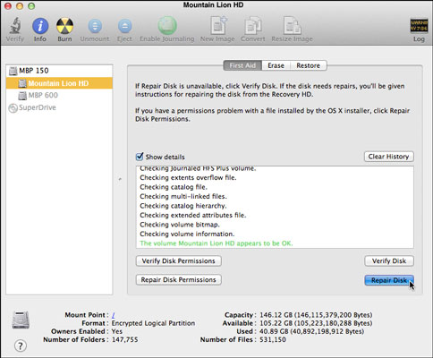 When to Run First Aid in Mountain Lion's Disk Utility - dummies