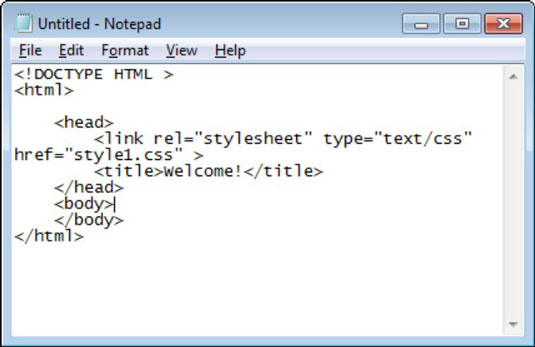 Creating HTML with Notepad in Windows.