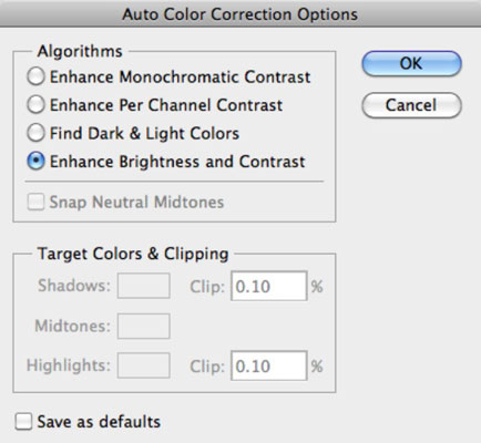 Click The Options Button In Dialog Box To Access Auto Color Correction