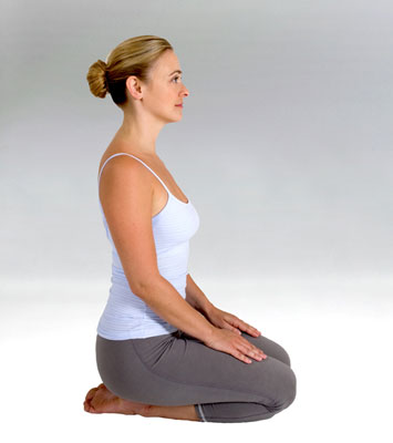 A woman in the thunderbolt posture