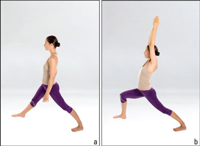 Woman does the Warrior I posture.