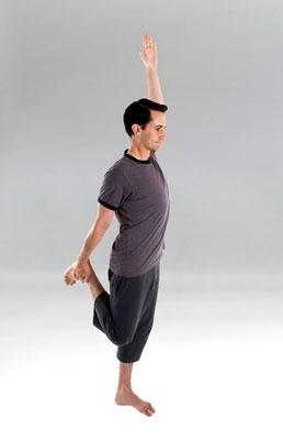 Man standing heel-to-buttock