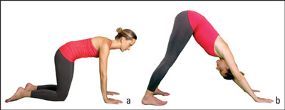 Woman does the downward-facing dog posture.