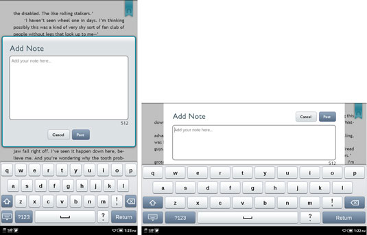 The NOOK Color's onscreen keyboard in portrait view (left) and landscape view (right).