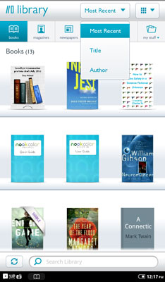 A NOOK Color library sorted by Most Recent in the Grid format.