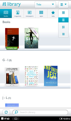 A NOOK Color library sorted by Title in the Shelf format.