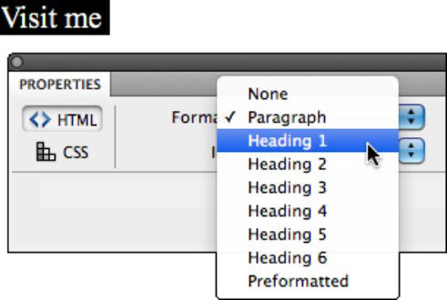 Applying HTML tags to a dreamweaver project.