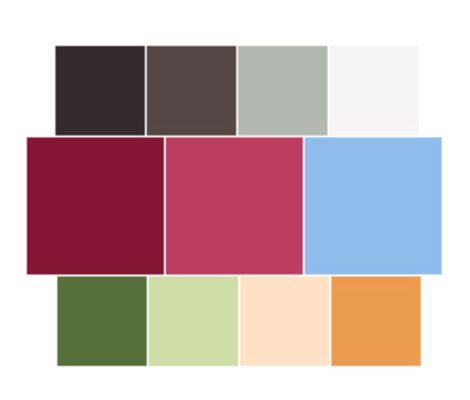 A sample palette: Muted light and dark colors are on the top row. Brand colors are in the middle ro
