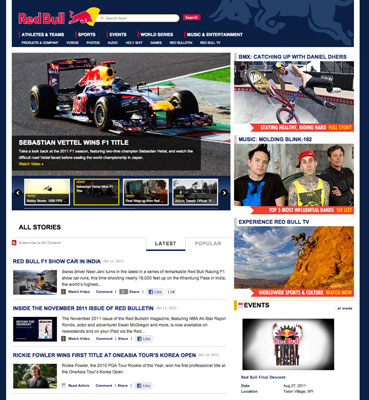 The Red Bull site conveys a lot of information effectively by using three main sections and rule li