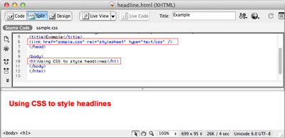 This split-screen view in Dreamweaver shows the HTML code in the top panel and the resulting format
