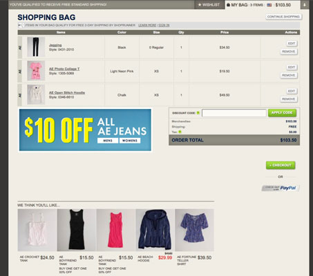 The American Eagle Outfitters shopping cart page offers a graphic view of your items and a means fo