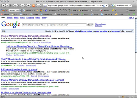The results page for a search of Google.