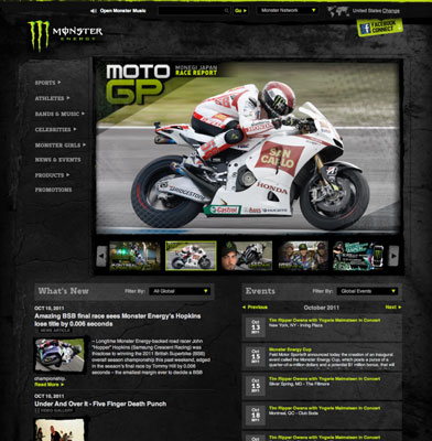 The Monster Energy website uses just 12–14 templates to power the whole site. [Credit: ©