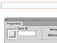 The Action field of the Properties Inspector