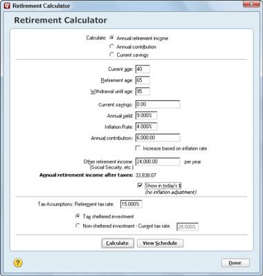 The Quicken Retirement Calculator - dummies