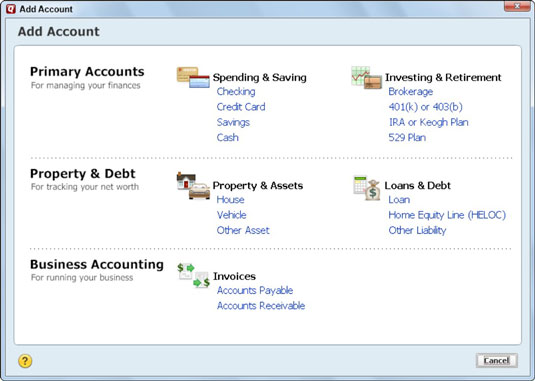 How to Set Up a Credit Card Account in Quicken 2013 - dummies