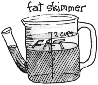 This specially designed cup isolates fat at the top so that pan drippings can be poured from bottom.