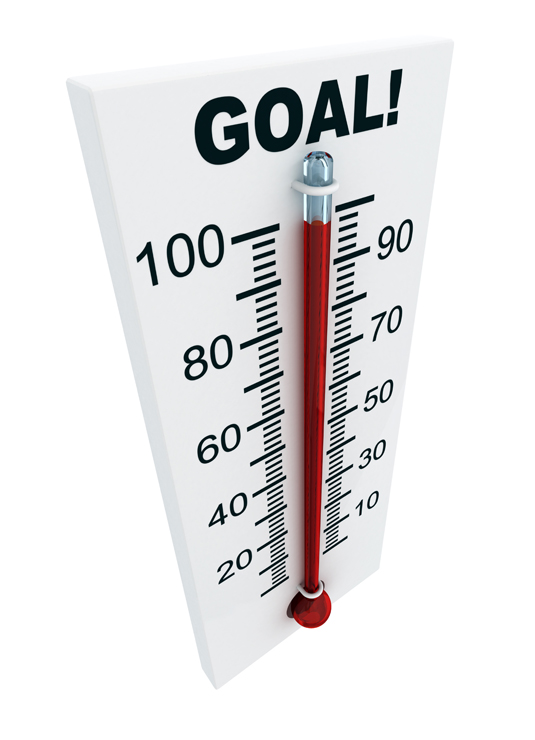A meter marks how close you are to reaching your goal.
