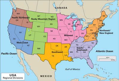 The U.S.'s major cheese-producing regions.