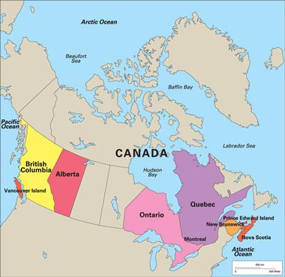 Key cheesemaking regions in Canada.